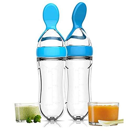 joizo Saugflasche mit Löffel, Silikon-Squeeze Reis-Getreide Lebensmittel Löffel Babynahrung Dosierlöffel (20,5 cm blau) 1pc