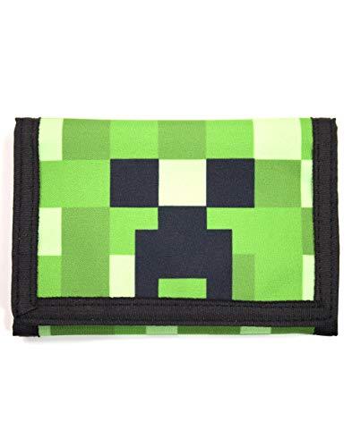 Cartera de velcro para niños Minecraft Creeper Face Green 15cm x 10cm