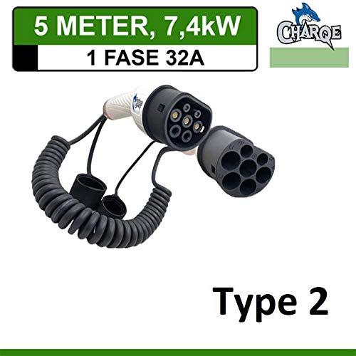 Charqe Premium Spiral Ladekabel Typ 2 bis Typ 2 | 5 Meter | Mode 3| 1-Phasig 32A 7.4kW | für EV Elektroauto und PHEV