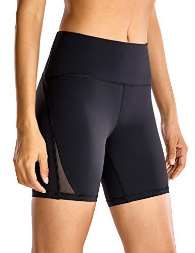 CRZ YOGA Pantalón Corto para Mujer Malla Shorts con Bolsillo Cremallera - 15cm...