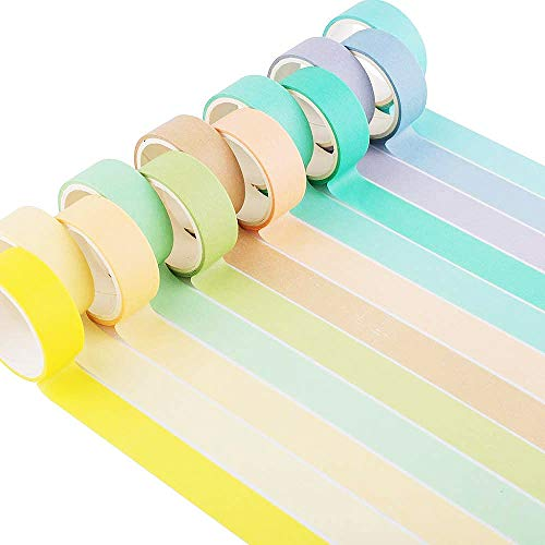 YUBX Washi Tape Set 12 Rollo cinta adhesiva decorativa Washi Glitter Adhesivo 15MM De ancho (Macaron Large)