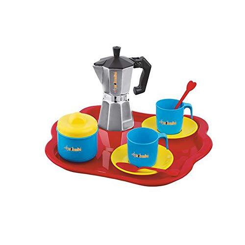 Aurora Store Set Caffettiera Giocattolo con Vassoio, tazzine, zuccheriera e cucchiaini Gioco per Bambini Moka Bar
