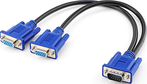 Pasow VGA Splitter Cable Dual VGA Monitor Y Cable...