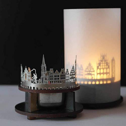 13gramm Münster-Skyline Windlicht Schattenspiel Premium Geschenk-Box Souvenir, inkl. Kerzenhalter, Kerze, Projektionsschirm und Teelicht
