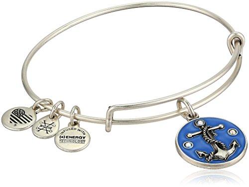 Alex and Ani Women's Color Infusion, Anchor Charm Bangle Bracelet, Rafaelian Silver, Expandable