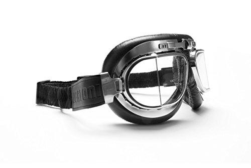 BERTONI Motorradbrillen Fliegerbrille Schutzbrillen Vintage Retro Antibeschlag UV Schutz AF193 (Schwarz Leder/Chrom Stahlrahmen)