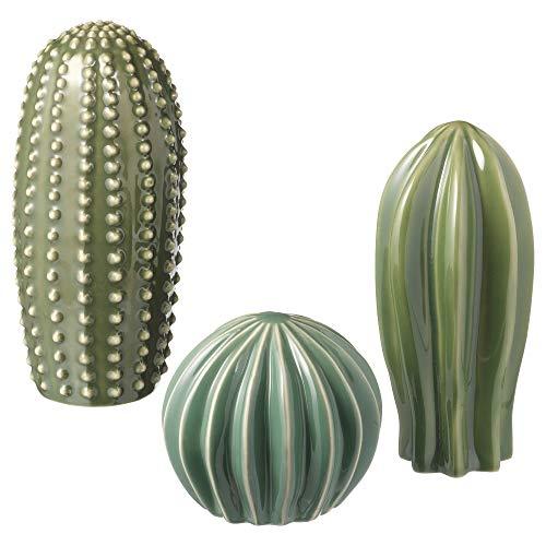 SIU Lot de 3 décorations Vertes, Dimensions du Colis et du Colis : Longueur : 28 cm, Largeur : 20 cm, Hauteur : 9 cm, Poids : 1,37 kg, matériaux en grès, Vernis coloré.