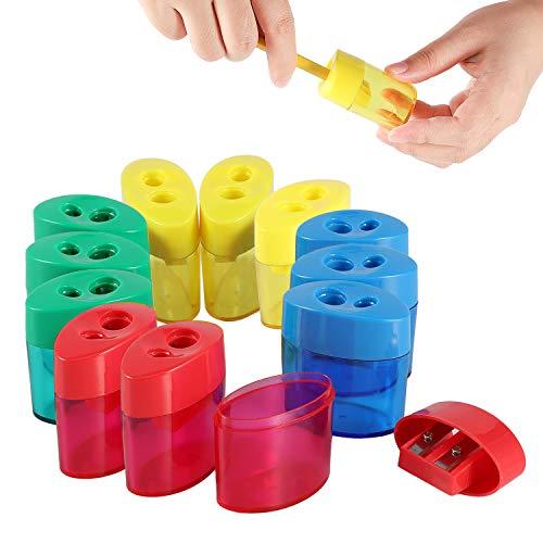 KIDMEN 2 Holes Pencil Sharpener,Pencil Sharpener for Kids,Pencil Sharpener Handheld-12 PACK