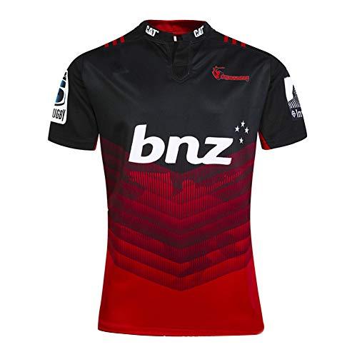 Camiseta de Rugby para Hombre, 2018 Crusaders Home/Away Rugby Camisetas, Fan Transpirable Ftbol Manga Corta Sport Top Cmodo Polo-Black.Red-L