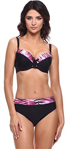 Merry Style Conjunto Bikini Sujetador y Bragas 2 Piezas Mujer P63581 (Negro/Fucsia, EU (Top 80 E/40) = ES (95 E/42))