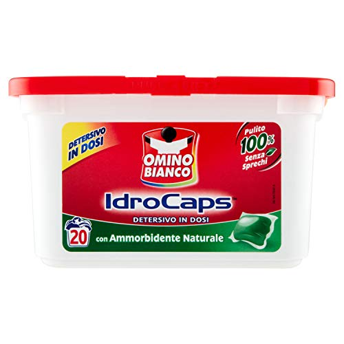 Omino Bianco Idrocaps, Detersivo Lavatrice in Capsule con Ammorbidente Naturale, Pulito Senza Sprechi, 1 Confezione x 20 Caps