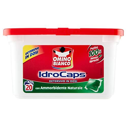 Omino Bianco - Idrocaps, Detersivo Lavatrice in Capsule con Ammorbidente Naturale, Pulito Senza Sprechi, 1 Confezione x 20 Caps
