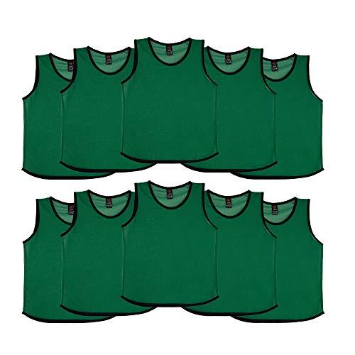 Ronex Sports Petos de Entrenamiento para niños, jóvenes y Adultos (Petos Deportivos, Petos de Futbol) - Pack de 10 Unidades Verde Oscuro, Niños (5-10 años)