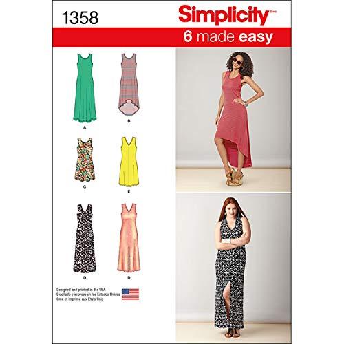 Simplicity 1358 Schnittmuster für Damenkleider, Größen XXS-XXL