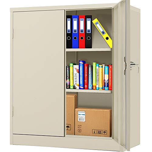 Steel Storage Cabinet with Lock, Lockable Metal Storage Cabinet with 2 Doors Locking Counter Cabinet for Home Office (Grey)