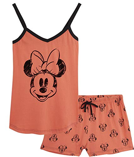 Disney Lounge Wear - Set de pijama para mujer, 100% algodón, Mickey Mouse y Minnie Mouse