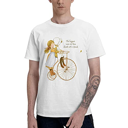 COOTHING Holly Holly Hobbie Blue Mens Smooth Casual Printed Basic Light Weight White Tee Clothes
