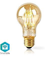 Nedis - WifiLF10GDA60 LED gloeidraad lamp - E27 - A60-5 W - 500 lm - App-besturing - Kleur: Goud - Materiaal: Glas - Nominale lichtstroom: 500 lm, warm wit, WIFILF10GDA60