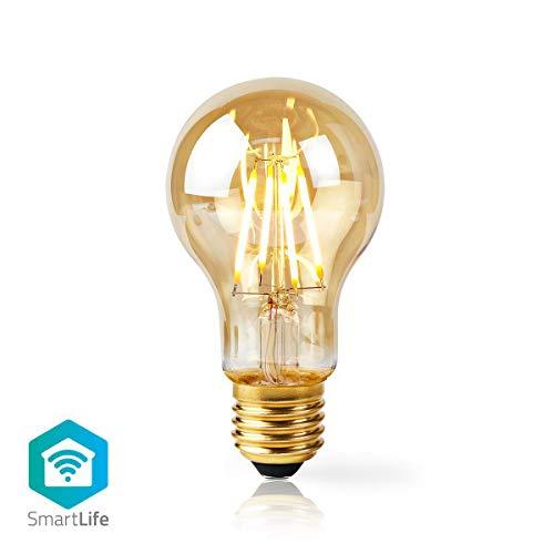 Nedis - Bombilla de filamento LED inteligente WiFi - E27 - A60-5W - 500lm - Control por aplicación - Color: dorado - Material: cristal - Flujo luminoso nominal: 500 lm
