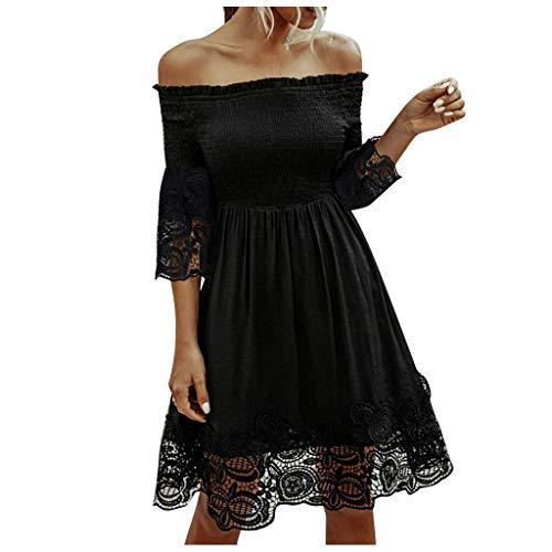 NPRADLA Damen Kleider Tshirt Kleid Winterkleid für Damen Rundhals Brautkleid Langarm Minikleid Kleid Langes Shirt Lose Tunika mit Bowknot Ärmeln