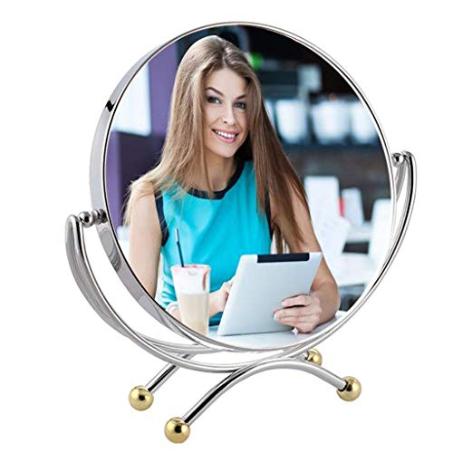 Makeup Mirror, 7.87inch Double Sided 1x - 3X Shaving Mirrors Magnification Hand Held with Stand Tabletop Mirrors Lighted (Edition : Reverse 3 Times)