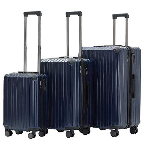 Münicase M816 TSA-Schloß Koffer Reisekoffer Trolley Kofferset Hardschale Boardcase Handgepäck (Dunkelblau, 3tlg. Kofferset)