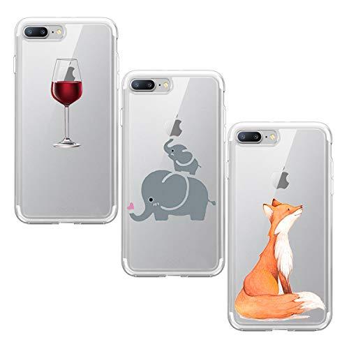 Suhctup Funda Compatible con iPhone 5/5S/SE Silicona Transparente Case,Cárcasa 3 Pack con Dibujo Animado Lindo,Ultra Delgada de Gel Suave y TPU Bumper a Antigolpes Suave Cover(8)