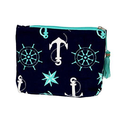 CCFW Mint Anchor Print Cosmetic Pouch Bag Clutch Handbag Casual Purse 100% Cotton (Mint)