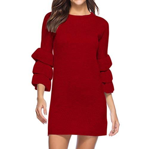 Womens Jumper Dress Casual Long Sleeve Knitted Dress Pullover Sweater Knitted Jumper Dress Soft Knitwear Slim Comfy Jumper Sweater Tops Folding Flared Sleeves Crewneck All-Match Dress XL