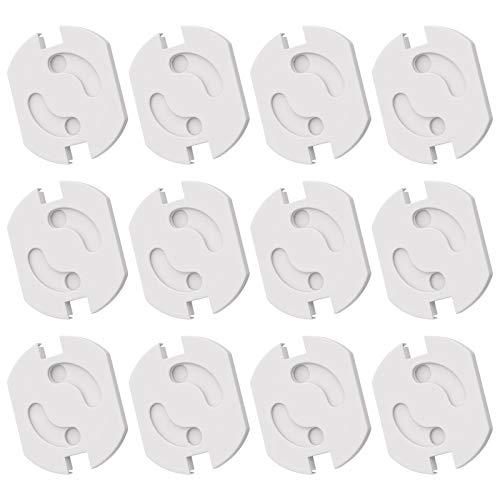 WELLGRO Steckdosen Schutz - mit Drehmechanik, selbstklebend, weiß - Kindersicherung - Menge wählbar, Stückzahl:12 Stück