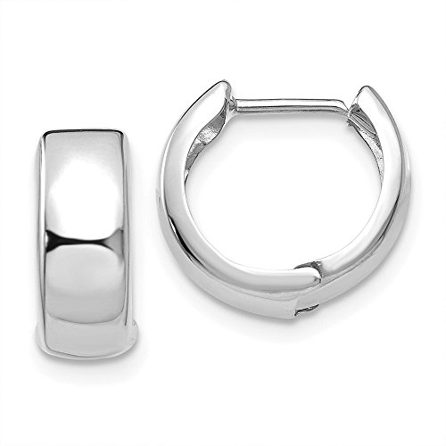 14k White Gold Hinged Hoop Earrings Ear Hoops Set Round Fine Jewelry For Women Gifts For Her