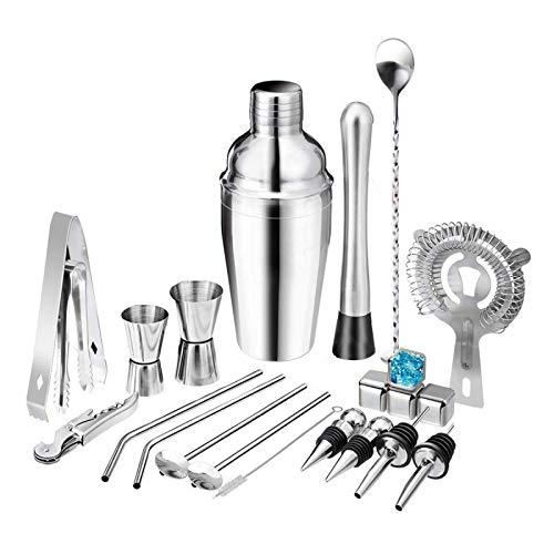 PN-Braes Juego de herramientas para hacer cócteles, 22 piezas, 550 ml/750 ml, kit de herramientas para bar
