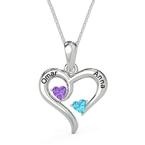 Customised Sterling Silver Love Heart Necklace for Women Cusume Jewellery- Pendant for Mum Grandma BFF Name Necklace Chain Personalised Gifts - 2 Simulated Birthstone 2 Engraved Names