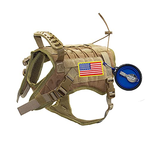 EJG Tactical Dog Harness Vest with Bowl Spoon Patch, Handle for Walking, Molle System DIY Velcro Area No Pull Design, for Medium Large Service Dogs, Military Training Hunting Outdoor Hiking-Large, Tan