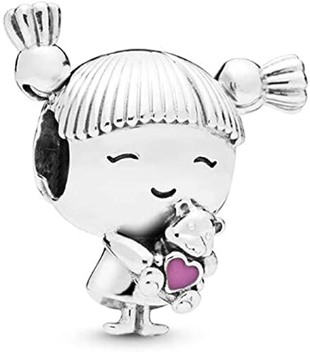 MiniJewelry Cute Little Girl Charm for Bracelets Sister Young Daughter Sterling Silver Charms for Women Mom Mothers Day Birthday Gift