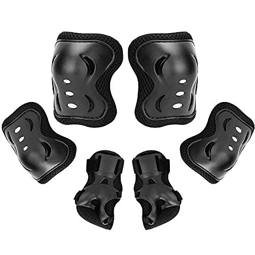 Athemeet para Niños/Jóvenes De Protección Gear Set Seguridad De Los Deportes Juego De Electrodos Rodilleras Y Coderas Reposamuñecas Guardia para El Patinaje Bicicleta Ciclismo Roller Negro M 6pcs