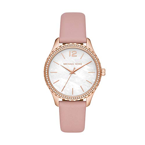 Michael Kors Women's Layton Stainless Steel Quartz Watch with Leather Strap, Pink, 18 (Model: MK2909)