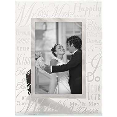 Malden International Designs Mirrored Glass With Silver Metal Inner Border Mr. and Mrs. Picture Frame, 4x6, Silver