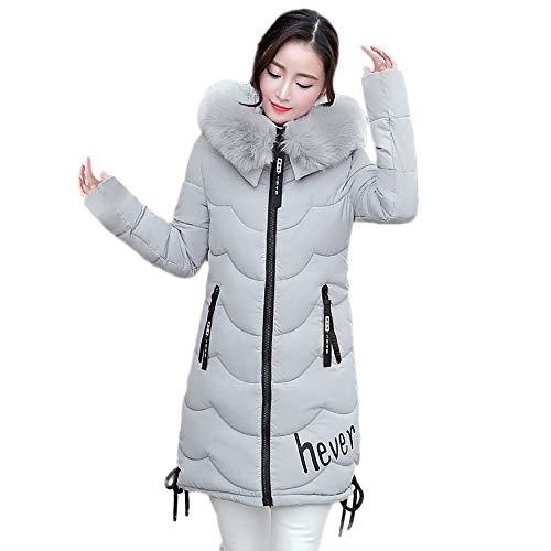 Winter Klassisch Daunenjacke Damen Warme Mantel Frauen Lange Dicke Pelzkragen Baumwolle Parka Slim Jacke FRAUIT Zipper Einfarbig Warm Jumper Top Outwear Bluse (XL, V-Hellgrau)