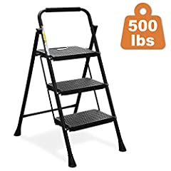 """2020 UPGRADE STEP LADDER—Open: 20.1"""" x 26.8"""" x 40.9"""", Folded: 44.5"""" X 20.1"""" X 1.6"""", Net Weight: 11.5 pounds, Maximum Load: 500 pounds. HBTower Safety Folding 3 Step Steel Ladder is made for you! PORTABLE AND SPACE-SAVING: This Folding Step Stools Com..."""