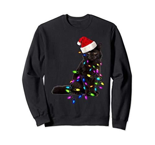 Chat Noir Arbre de Noël Lumineux Déco Drôle Chat Cadeau Noël Sweatshirt