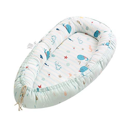 Miracle Baby Cuna Bebé,Nido Bebé Portátil, Cuna Nidos Ajustable, Cama Nido de Bebé Recién Nacido,Multifuncional Cuna Cama de Viaje para Bebe Dormir,Ballena(88x53x15cm)