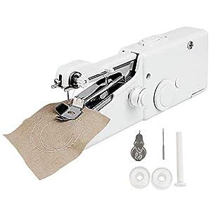 Golrisen Máquina de Coser de Mano con Accesorios Máquina de Coser Portatil Mini para Viaje Máquina de Coser Manual Pequeña Fácil de Transportar para Viaje y Casa, Funciona con 4 Pilas(no incluye)