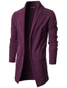 OHOO Mens Long Sleeve Draped Lightweight Open Front Shawl Collar Longline Cardigan/DCC026-PURPLE-XXXL