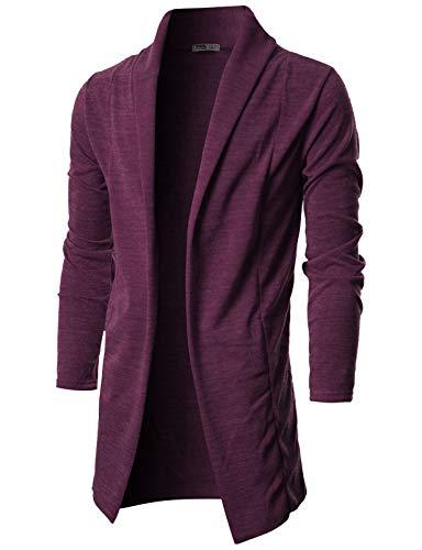 OHOO Mens Long Sleeve Draped Lightweight Open Front Shawl Collar Longline Cardigan/DCC026-PURPLE-XL