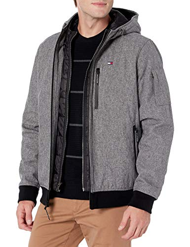 Tommy Hilfiger Men's Soft Shell Fashion Bomber With Contrast Bib and Hood, Heather Grey Tech, X-Large