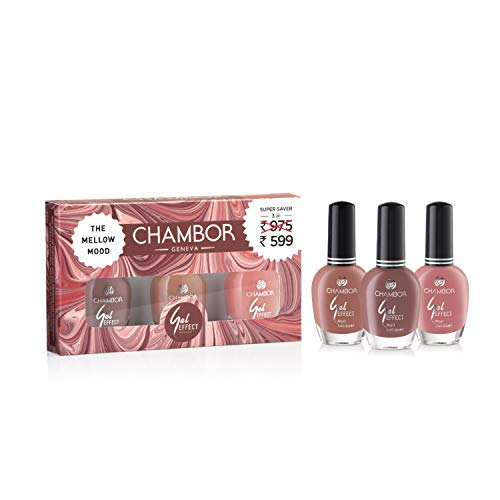 CHAMBOR Chambor Gel Effect Nail Lacquer, Mellow Mood -# 0315, 10 ml (Pack of 3)