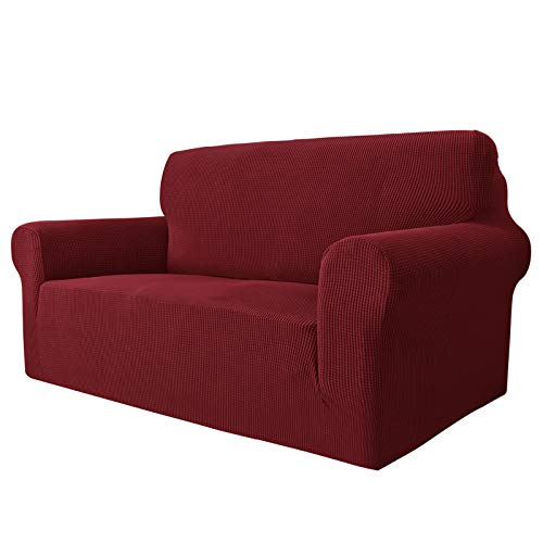 MAXIJIN Super Stretch Couch Cover for 2 Seater Couch, 1-Piece Universal Love Seat Covers Jacquard Spandex Sofa Protector Dogs Pet Friendly Fitted Loveseat Slipcover (2 Seater, Wine Red)