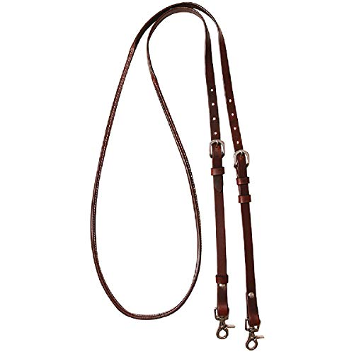 Cashel Company 8 Foot Adjustable Reins w/Rawhide Trim Chocolate 8FT