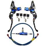 WOOSTAR Motocicleta Embrague Hidraulico Kit Cilindro Maestror con CNC Palancas de Freno Reemplazo para Suzuki GSX650F CR250 Kawasaki Dirt Pit Bike Azul